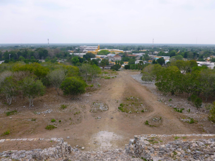 Looking toward the monastery from the top of the pyramid.