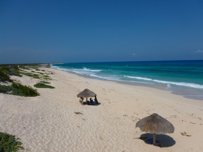 Nice beach with palapas. The beaches reminded me of the nice Cancun beaches.