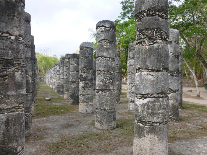 Columns at the Temple of a Thousand Warriors.