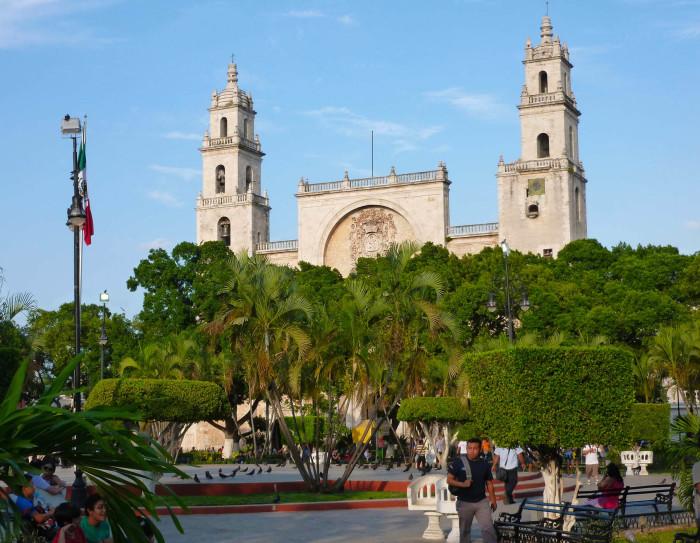 Merida's main plaza, with the Merida Cathedral behind