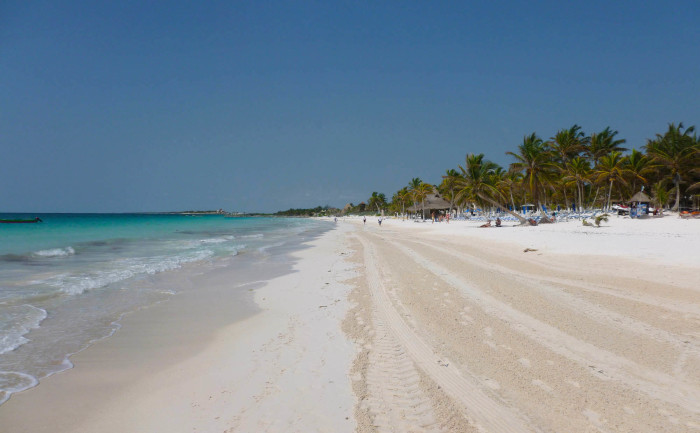 The world-class Tulum beach (it's a bit south of the ruins)