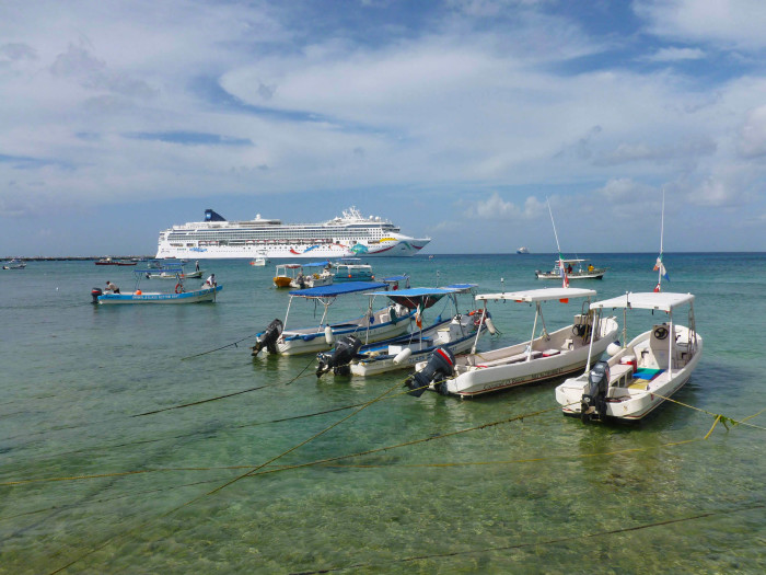 Cruise ship and fishing/snorkeling boats
