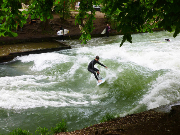Urban river surfing! This is the manmade Eisbach Wave on the Eisbach River. I'd seen pictures of this probably 10 or 15 years ago and had to see it when I realized it was in Munich. It was awesome.