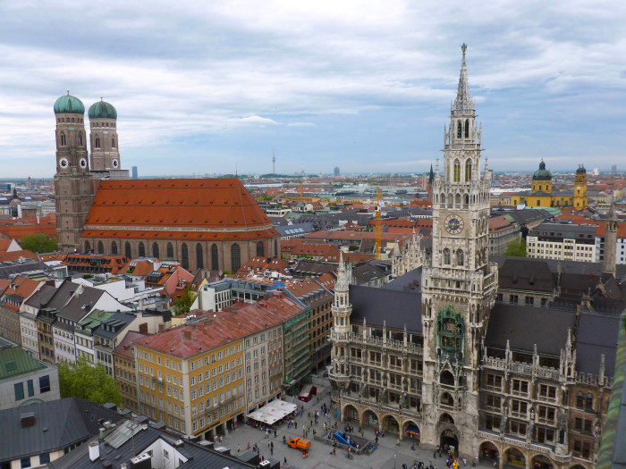 View from the spire of St. Peter's church: Frauenkirche (dual-towered church), New Town Hall (the big Gothic-style building), and Theatinerkirche (the yellow church)