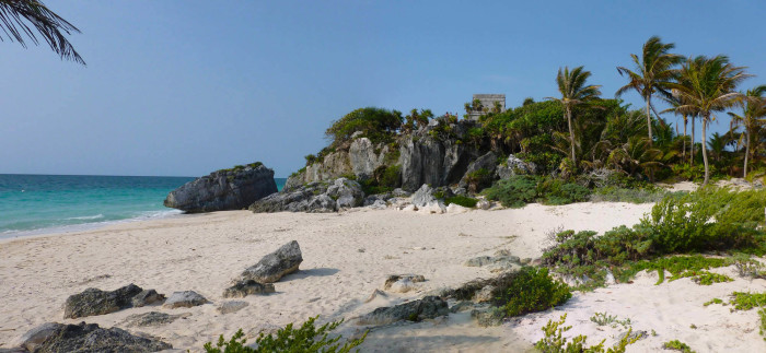 A stretch of beach below the ruins. The beach was closed off because there were turtle nests in the sand.