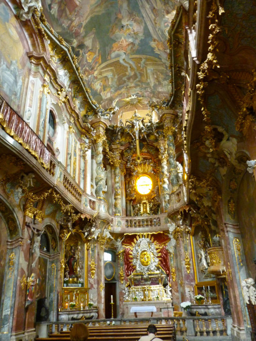 The awesome interior of the Asam Church (aka Asamkirche or The Church of St. Johann Nepomuk), completed in 1746
