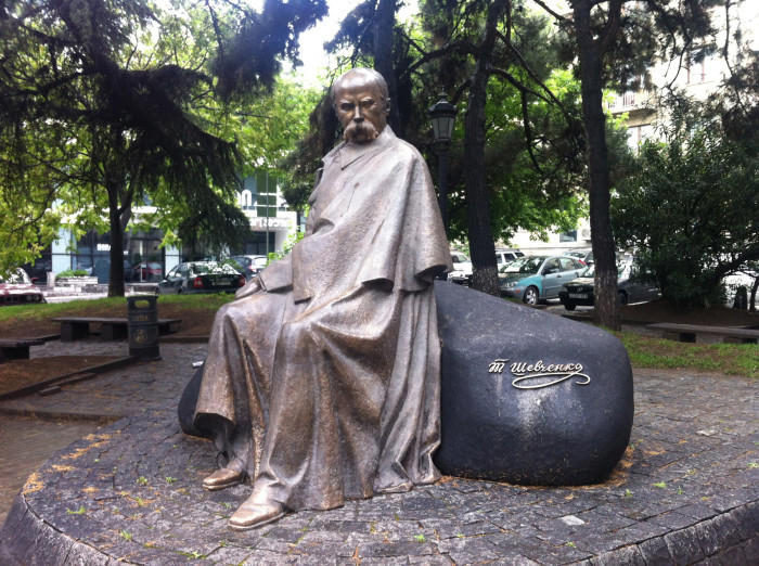 Statue of famous Ukrainian author/poet/artist Taras Shevchenko (with his name written in Russian, one of the few things I've seen in Russian)