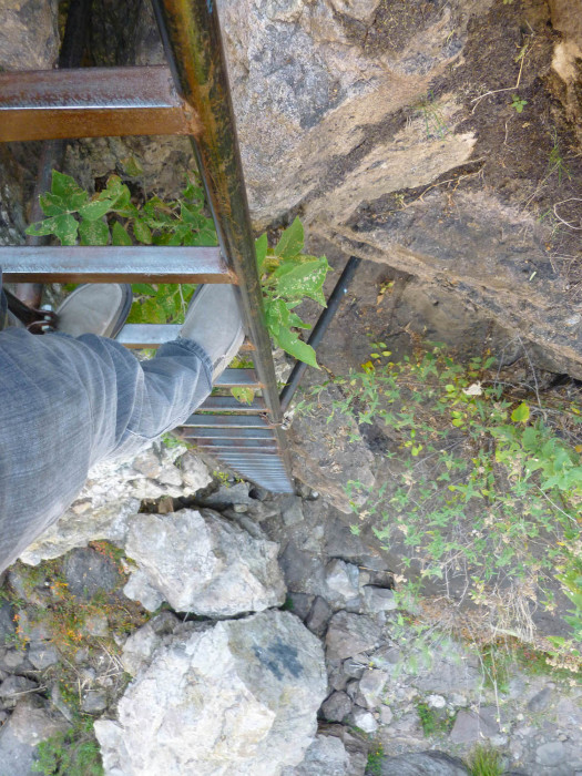 The sketchy ladder you have to use to get in and out of the gorge