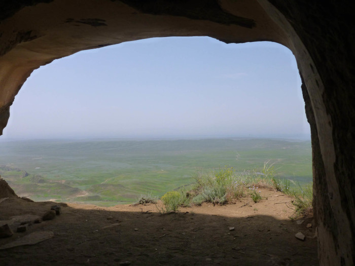 Looking out from one of the caves