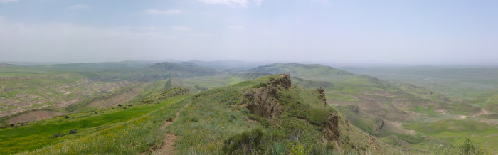 A panorama taken on top of the mountain