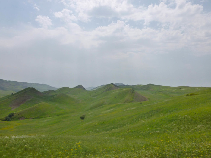 Beautiful green hills and mountains