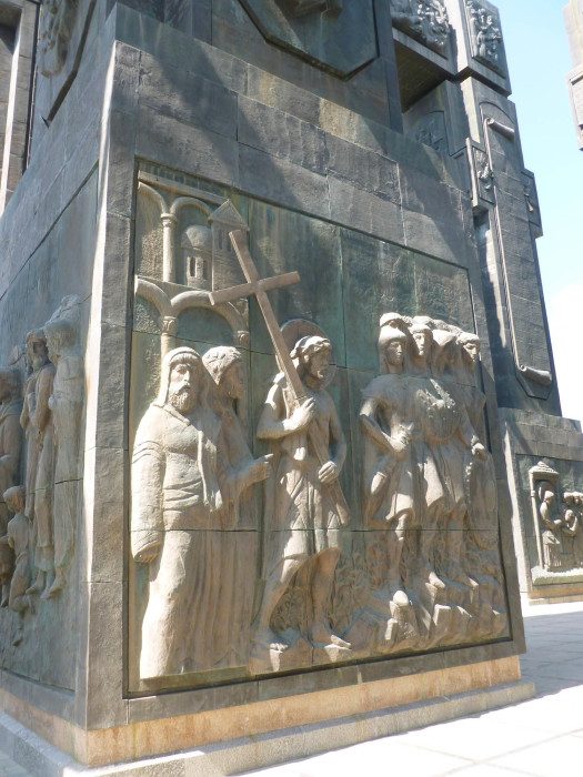 One of the religious panels on the monument