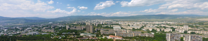 Looking over the northern end of Tbilisi. It looks very... Soviet.