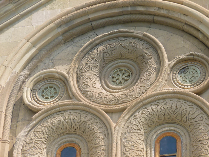 The beautifully intricate carvings on the outside of Samtavro Church.