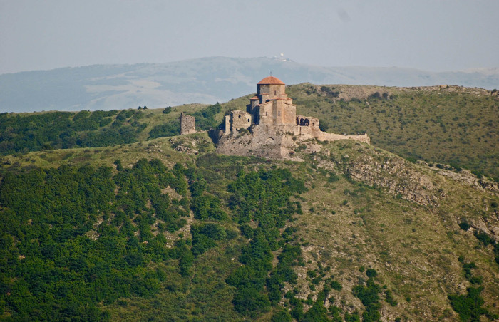 Jvari on top of the mountain above Mtskheta. Photo stolen from Wikipedia.