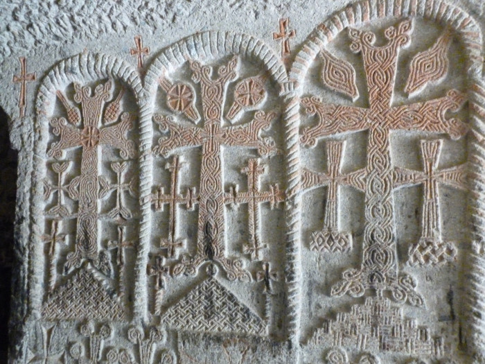 Beautiful crosses inside one of the carved passages