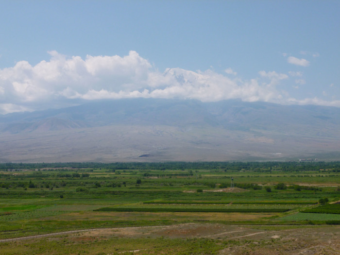 A closer look at Mt. Ararat. Note the guard tower that marks the Armenia-Turkey border.