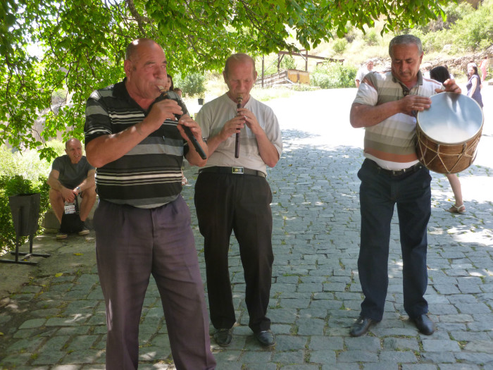The guys with the flutes and drum