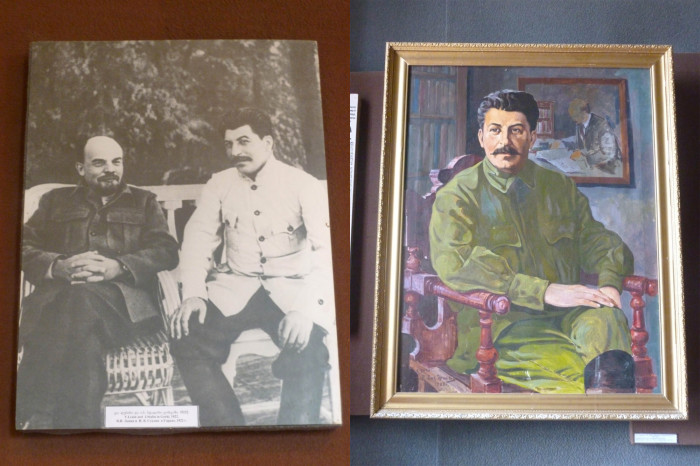 Left: Stalin with Lenin. Right: A painting of Stalin with a painting of Lenin in the background.