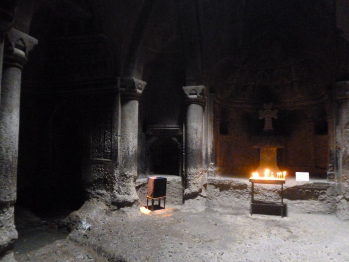 Inside one of the rock-hewn churches. Note the basin from the previous photo in the bottom-left corner.