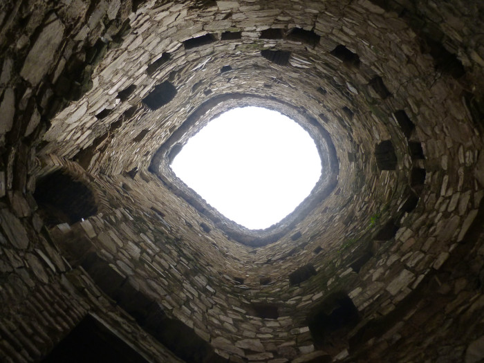 Looking up through one of the towers
