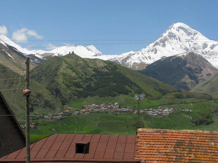 This isn't my photo, but it shows you the town of Kazbegi, the church on the mountain, and Mt. Kazbek (which, again, I wasn't able to see because of the cloud cover).