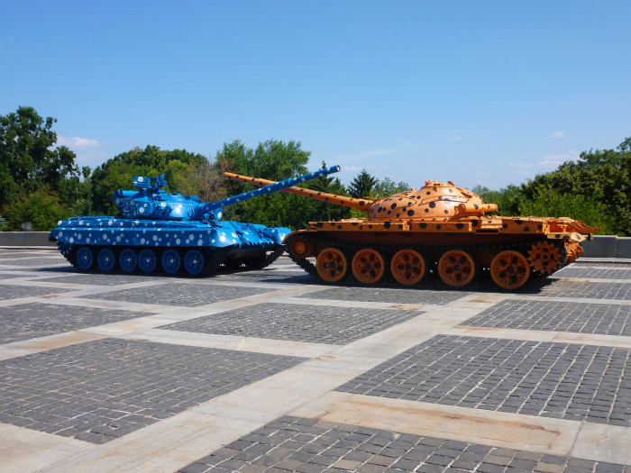The peace tanks in front of the Mother Motherland monument