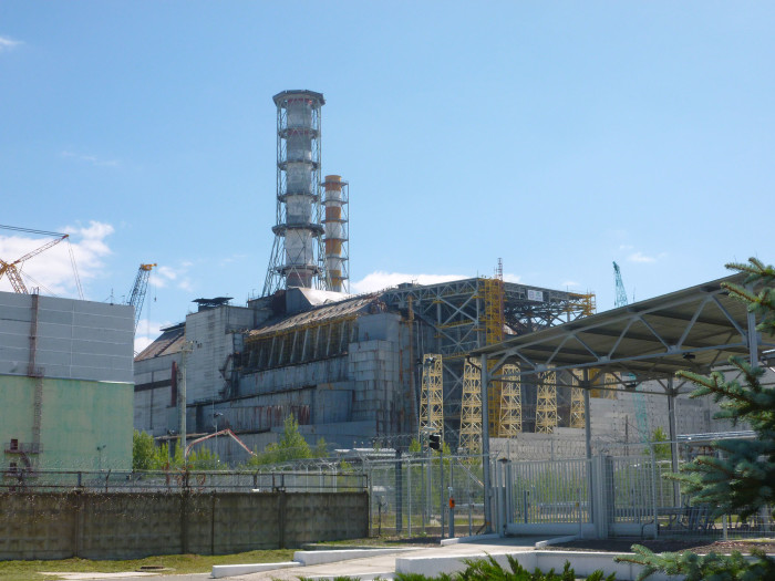Reactor #4 (the one that blew up) covered in its concrete sarcophagus