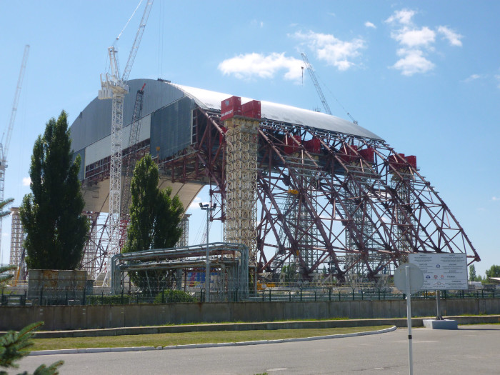 The big thing being constructed next to reactor #4 that they're going to cover the reactor with