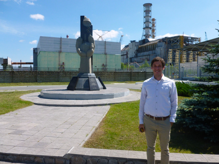 Me, Geiger counter in hand, in front of reactor #4