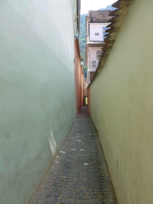 """Strada Sforii (""""Rope Street"""") is supposedly one of the narrowest streets in Europe. I think it's stretching the definition of the word """"street."""" I think it's more like just the gap between two buildings."""