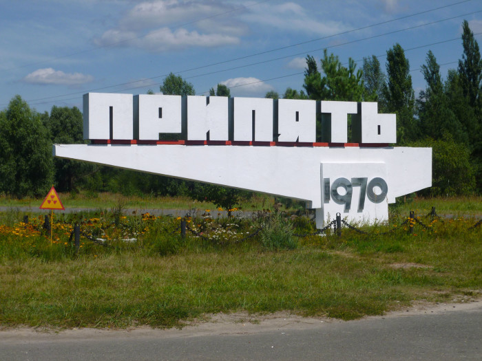 The sign for Pripyat, the town next to Chernobyl where all of the plant workers and their families lived