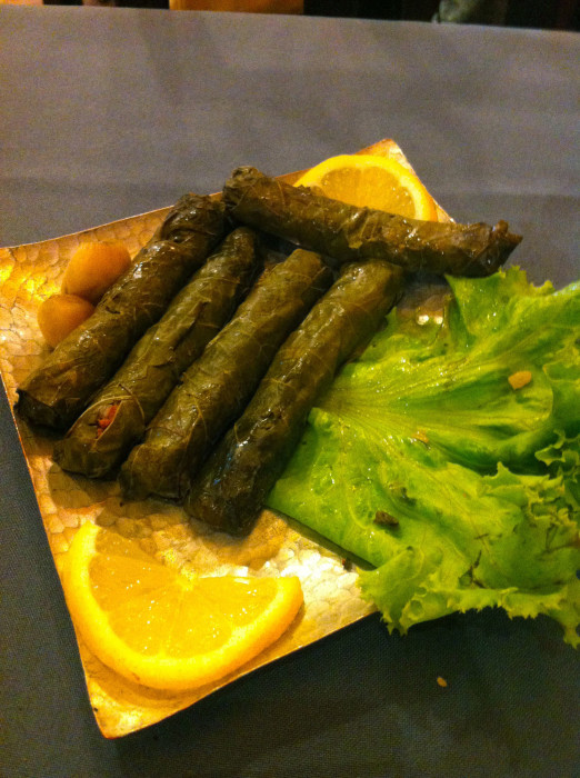 Sarma. Grape leaves with meat and rice inside.