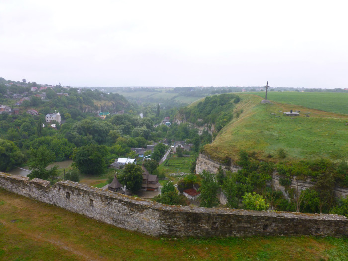 Looking out at the river canyon/valley from the Kamianets-Podilskyi Castle
