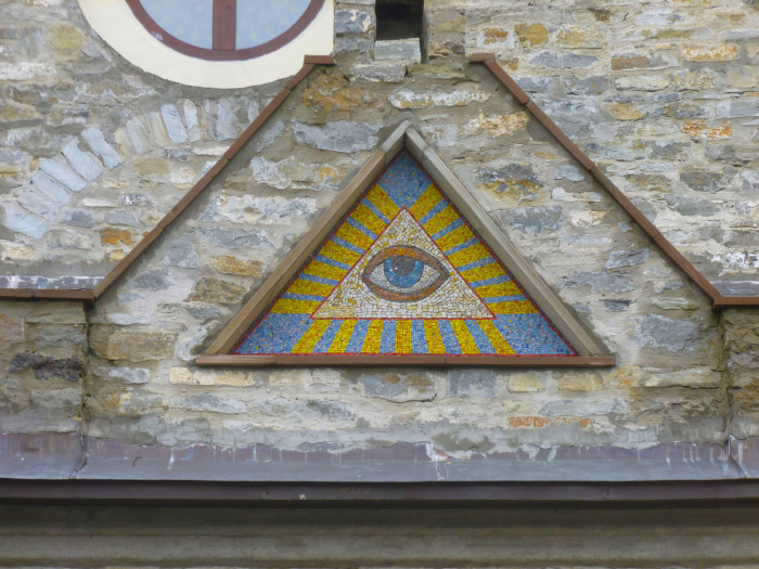 Some sort of crazy eye thing on a church in Kamianets-Podilskyi
