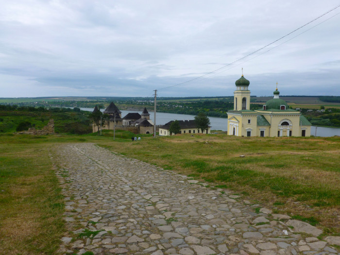Looking over to the Khotyn Fortress and a church above the Dnister River