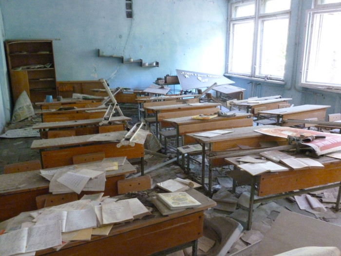 One of the classrooms in the middle school