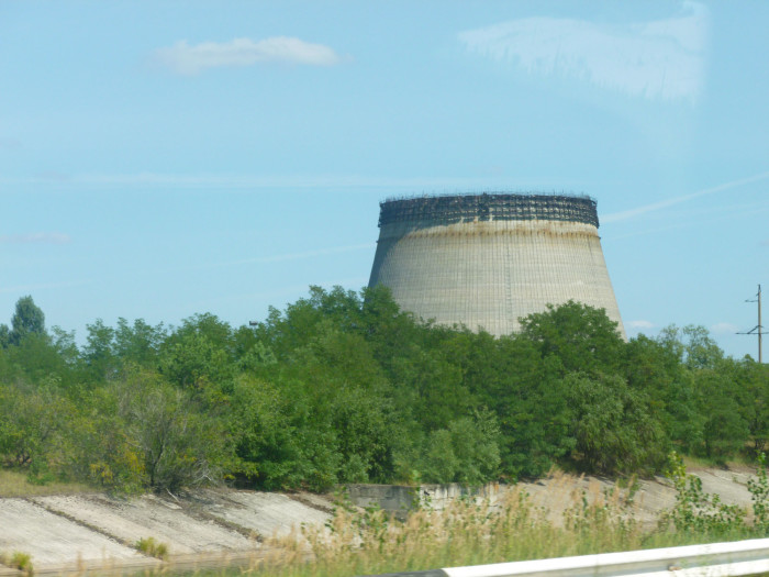 The cooling tower that was being built next to reactors 5 and 6