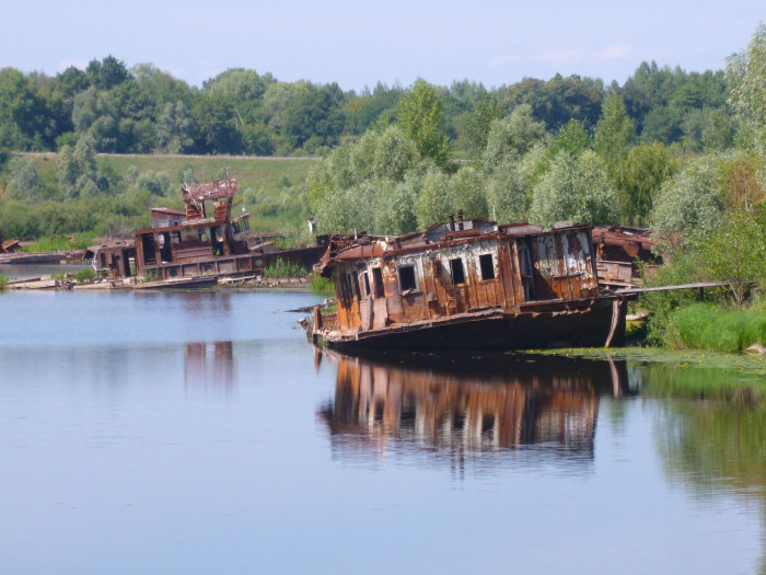 A rusting boat on one of Chernobyl's waterways