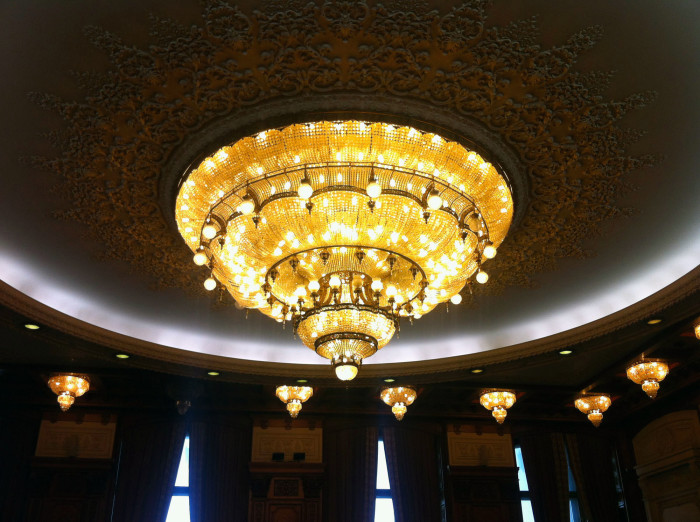 One of the largest chandaliers in the world is inside the parliament building.
