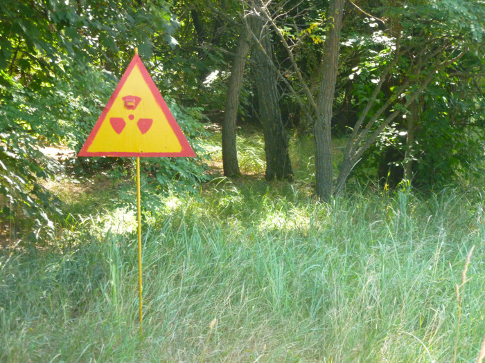 Signs like this in areas that were especially radioactive.