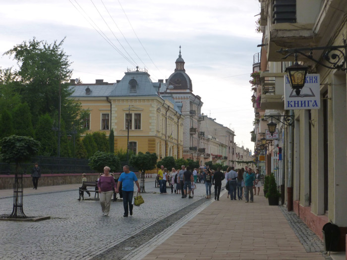 A pedestrian street in Chernivtsi