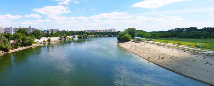 The Dniester River and a section of beach