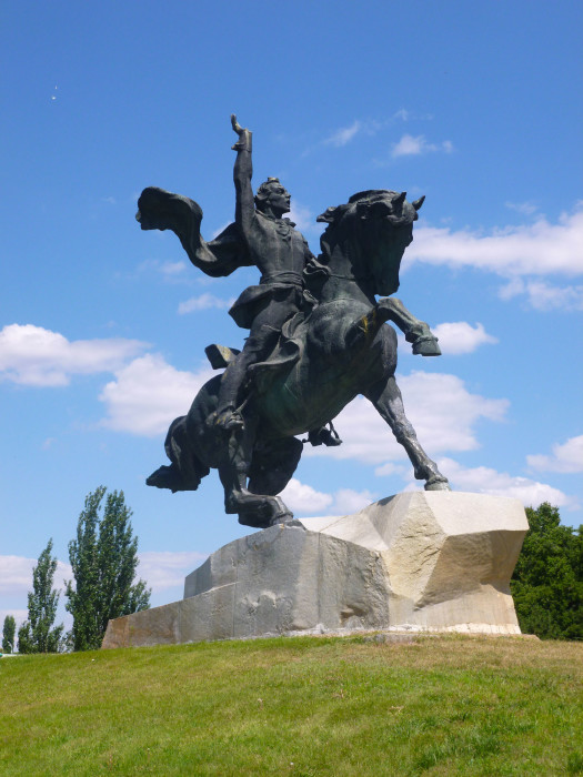 A statue of Alexander Suvorov, the Russian general who founded Tiraspol in 1792.