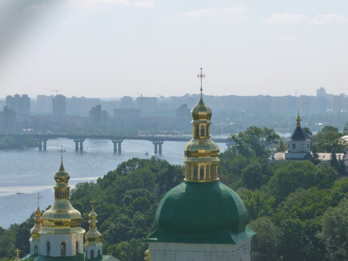 Looking over part of the Pechersk Lavra toward the Dniepro River and Kiev's Left Bank.