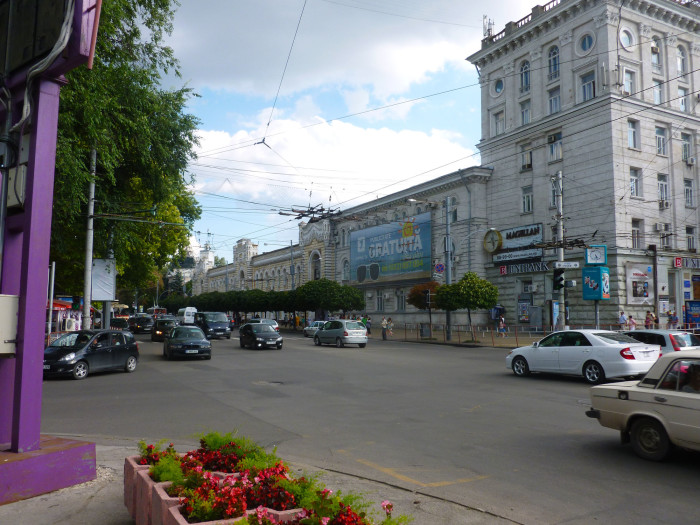 A typical street in downtown Chisinau