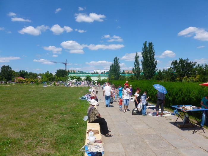An unofficial market at a park in Tiraspol