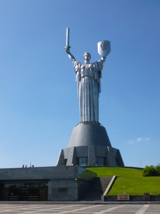 Mother Motherland (Родина-мать), Kiev's largest World War II memorial. It's 335-feet high.