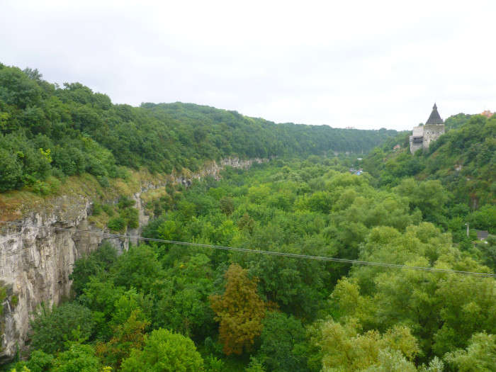 One of the river canyons surrounding the old town of Kamianets-Podilskyi