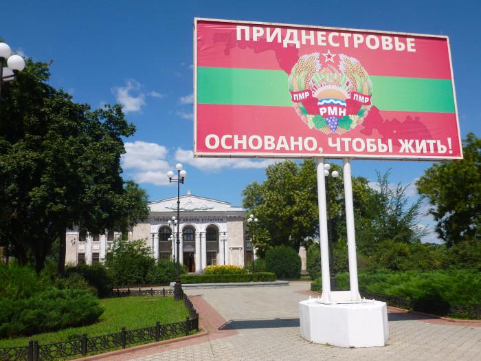 A patriotic sign in Tiraspol.